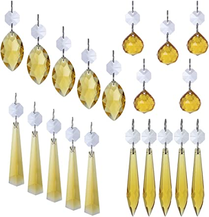 Clear Chandelier Glass Crystals Lamp Multi Faceted Bead Hanging Drops Pendant/_DS