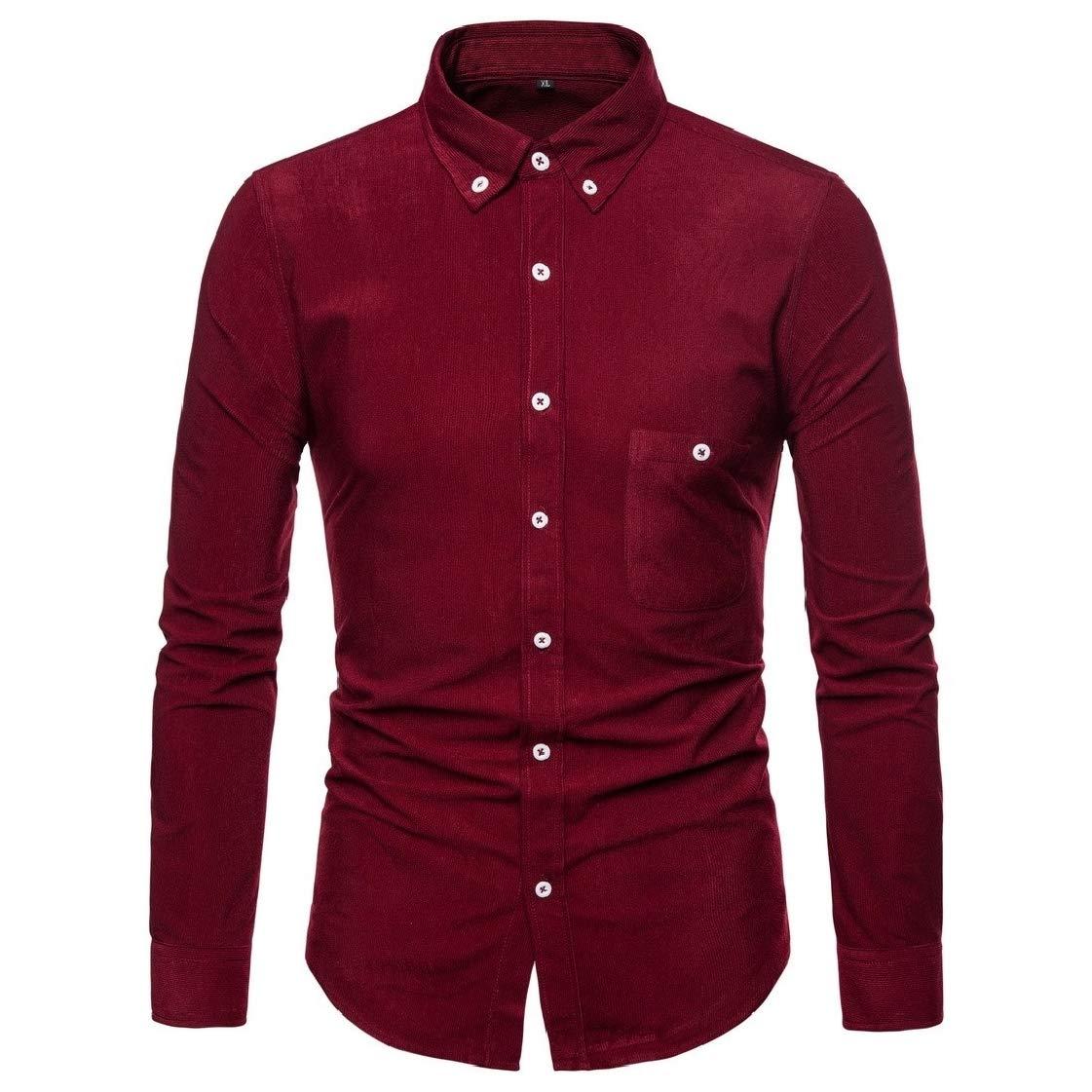 Coolred-Men Regular Fit Corduroy Button-Collar Business Shirts