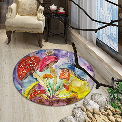 Cheap Psychedelic Round Area Rug Watercolor Style Mushrooms with Dreamy Grungy Style Artistic Enchanted Forest ThemeOriental Floor and Carpets Multi