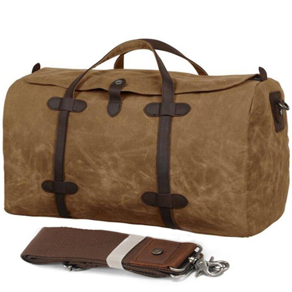FXTXYMX Waterproof Waxed Canvas Leather Travel Duffels Bag Canvas Genuine Trim Shoulder Tote Handbag Weekend Bag (Khaki)