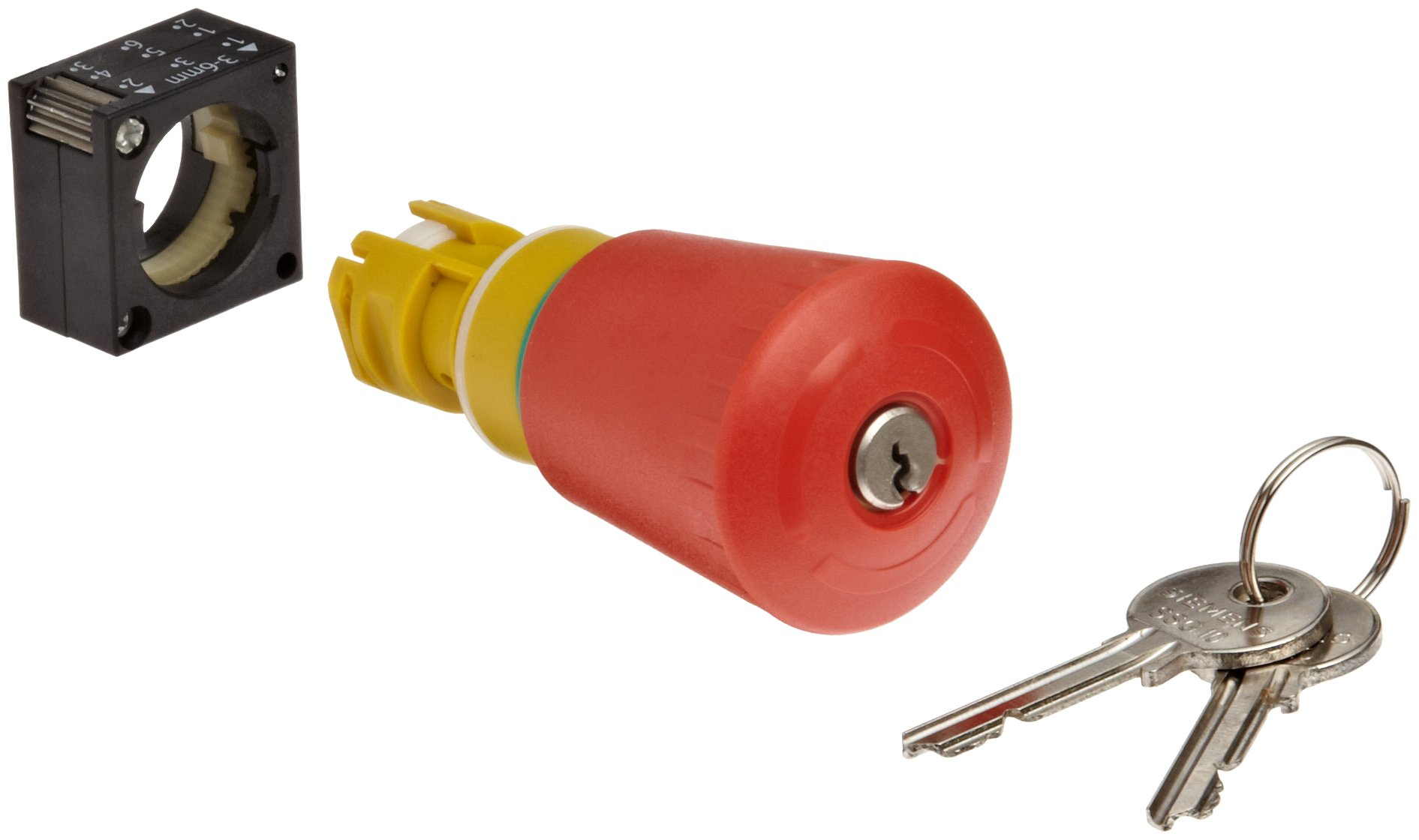 Siemens 3SB30 00-1KA20 Key Operated Emergency Stop Mushroom Pushbutton, 40mm Head, CES Key Operated, SSG 10 Lock, Positive Latching, Unlock By Key Only, On/Off Key Removal Position, Red