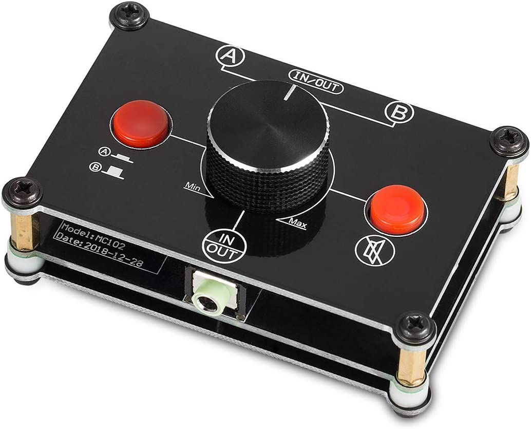 -in-1 1 2 -Out 3.5mm Stereo Audio Switch Audio Switcher Passive Speaker Headphone Manual Selector Splitter Box Audio Sharing Nobsound Little Bear MC102 Mini 2 Black