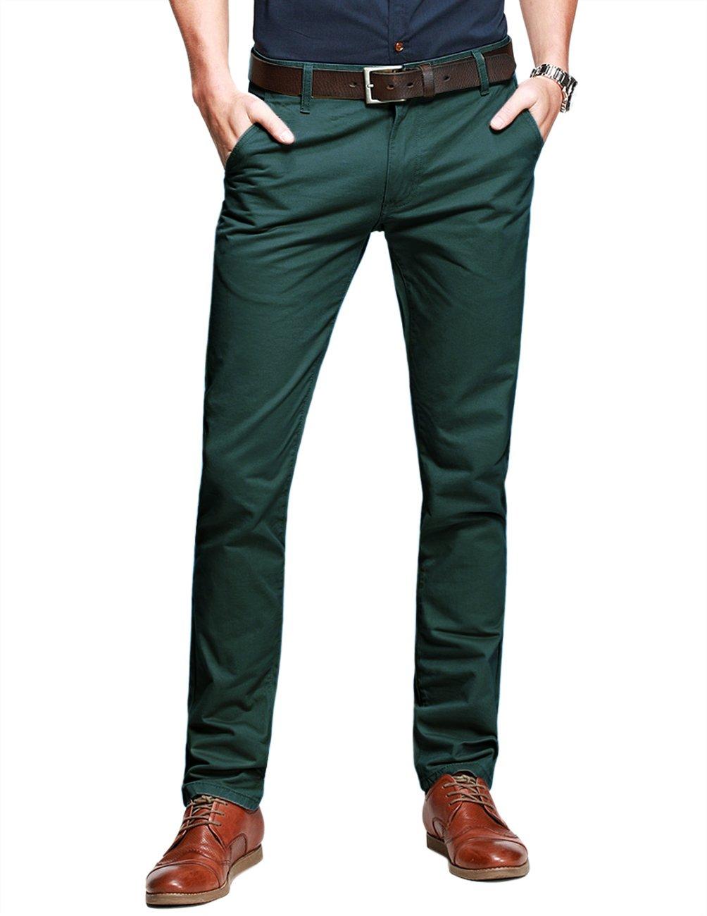Match Mens Slim-Tapered Flat-Front Casual Pants(32W x 31L,Dark Moss Green)