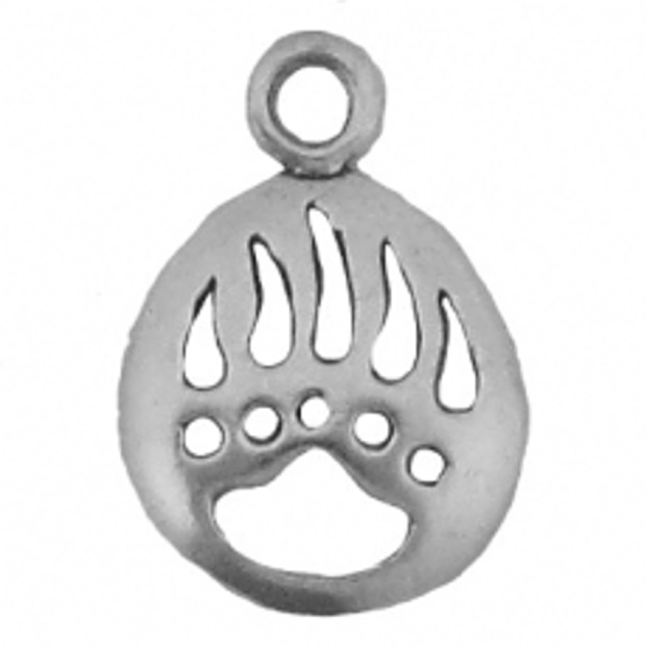 Sterling Silver Womens 1mm Box Chain Mini Round Bear Claw Print Pendant Necklace