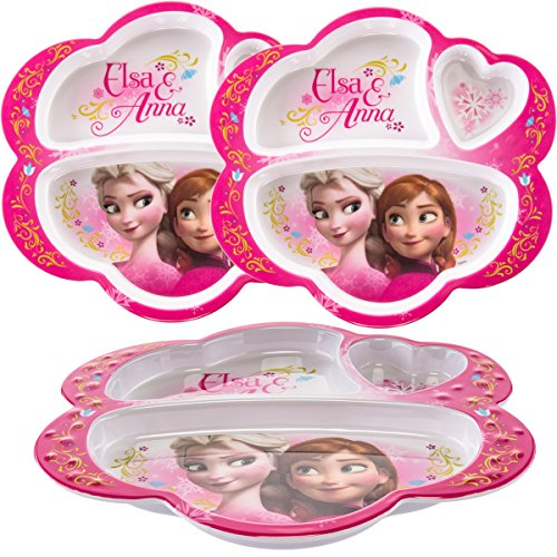 Zak! (3 Pack) Disney Frozen Anna & Elsa Character, BPA-Free Plastic 3-Section Divided Kids Plates, Lunch Trays For Breakfast & (Princess Divided Plate)