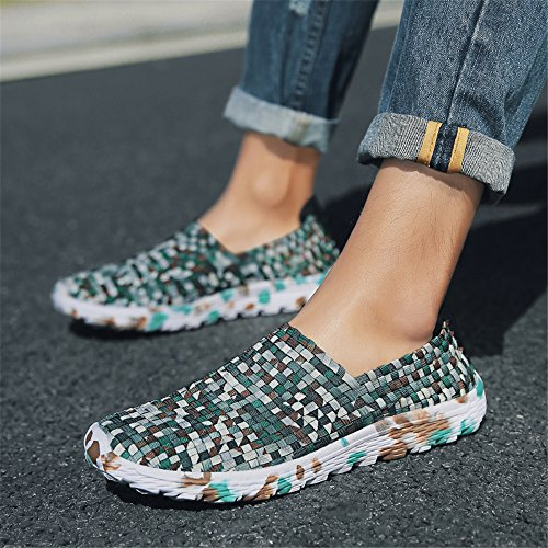 Shoes Handmade Fashion On Sneakers 915 Walking Comfort Women Shoes Slip Lightweight GREEN Woven FZDX EwvHxqTBq