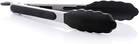 iNeibo Pinzas de Cocina en Acero Inox Silicona de Grado Alimenticio Resistente al Calor Limpia Fácil Ahorra Espacio Buen Agarre Tamaño 23cm para Barbacoa Cocina