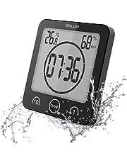 Soddyenergy LCD Numérique Horloge De Douche, Horloge De Salle De Bains Imperméable Douche Horloge Minuterie Température Humidité Mur Douche Horloge Cuisine Minuteur