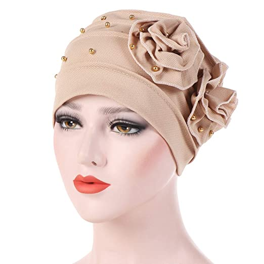 d0b7a2e321a Women Solid Elastic Turban Hat Beanie Beading Ruffles Head Scarf Wrap Chemo  Cap Hat for Cancer Patient(Beige) at Amazon Women s Clothing store