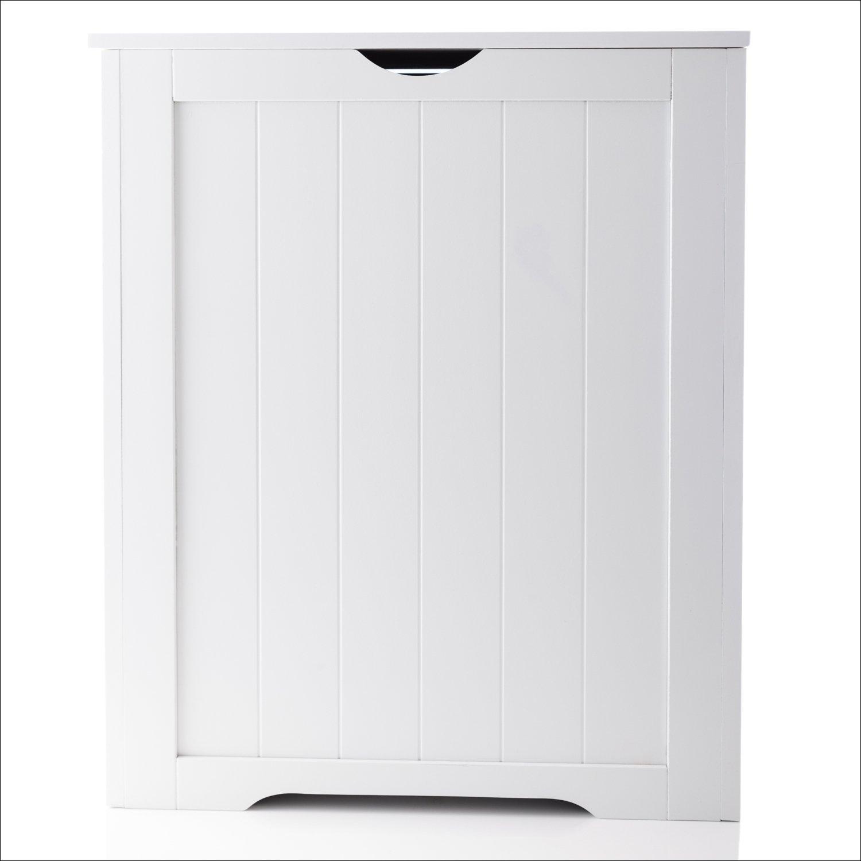 EHC Woodluv Shaker Large Laundry Linen Hamper Bin Bathroom Storage -White, 50cm x 30cm x 60cm(H) Elite Housewares SH48787