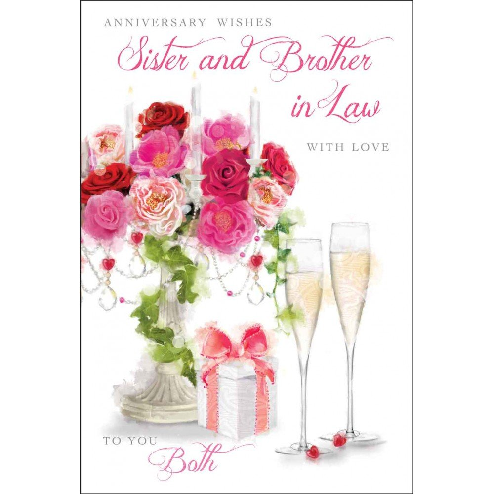 Anniversary Card Jj2068 Sister Brother In Law Champagne