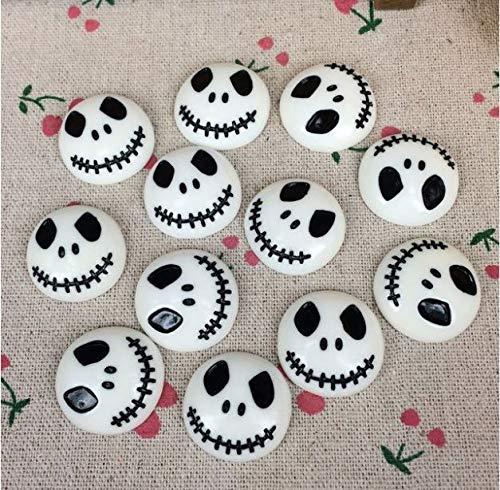 10Pieces Flat Back Resin Cabochon Skeleton for Halloween DIY Flatback Embellishment Accessories Scrapbooking Crafts:23mm ()