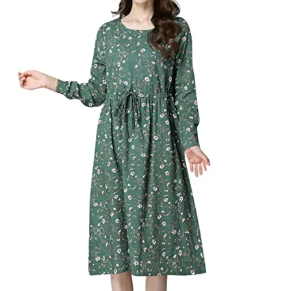 Fuxitoggo Vestido de Manga Larga con Estampado Floral de Lino y Talla Grande para Mujer (