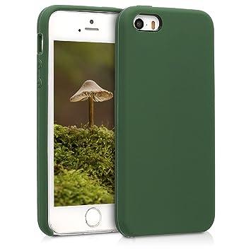 kwmobile Funda compatible con Apple iPhone SE / 5 / 5S - Carcasa de {TPU} para móvil - Cover {trasero} en {verde oscuro}
