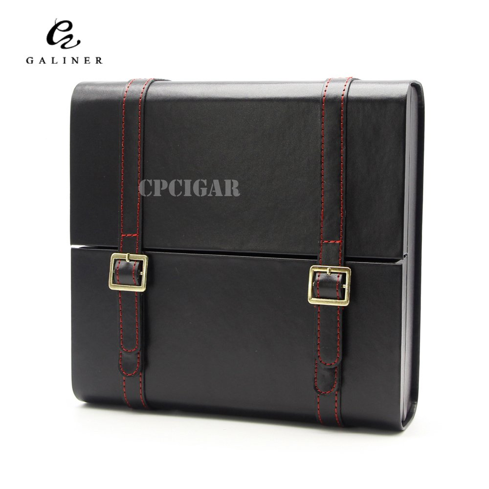 GALINER 15CT Portable Black Spanish Cedar Wood Lined Wooden Leather Cigar Humidor Business Briefcase Travel Cigars Case Storage Box with Humidifier
