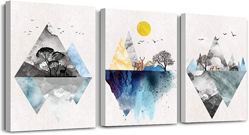 Amazon Com Wall Art For Living Room Canvas Prints Artwork Bathroom Wall Decor Abstract Mountain Geometric Picture Watercolor Painting 3 Pieces Framed Bedroom Wall Decorations Fashion Office Home Decoration Posters Prints