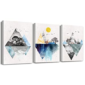 Wall Art for Living Room Canvas Prints Artwork Bathroom Wall Decor Abstract Mountain Geometric Picture Watercolor Painting 3 Pieces Framed Bedroom Wall Decorations Fashion Office Home Decoration