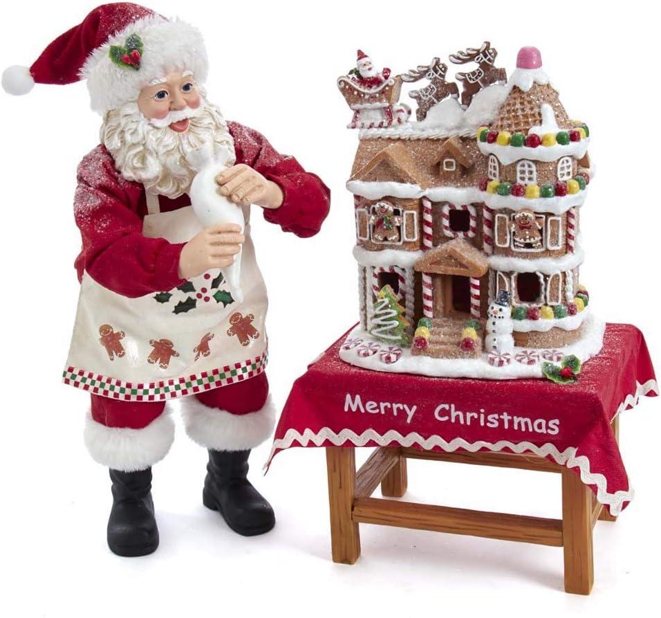 Kurt S Adler 9.5-Inch Wooden Table Piece Santa Multi