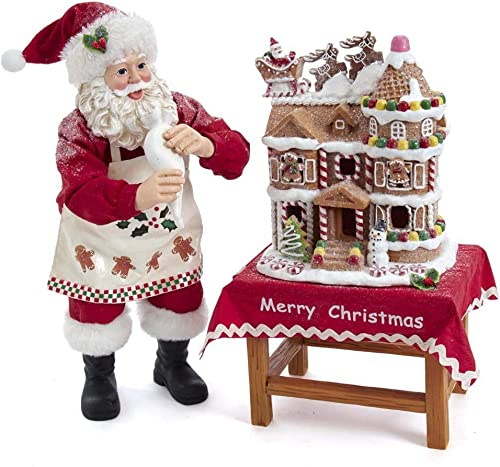 Kurt S. Adler Kurt Adler 10.5-Inch Battery-Operated Fabriche Decorating LED Gingerbread House Table Piece Santa, Multi