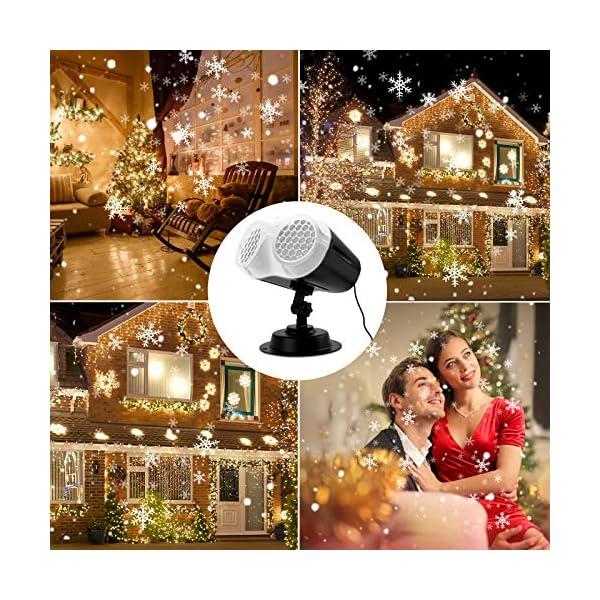 ROVLAK Proiettore Luci Natale Esterno Interno Snowflake Lampada di Proiezione LED con Telecomando Impermeabilità IP65 Caduta Della Neve di Luci Nevicate Landscape Spotlight per Natale,Halloween,Festa 7 spesavip