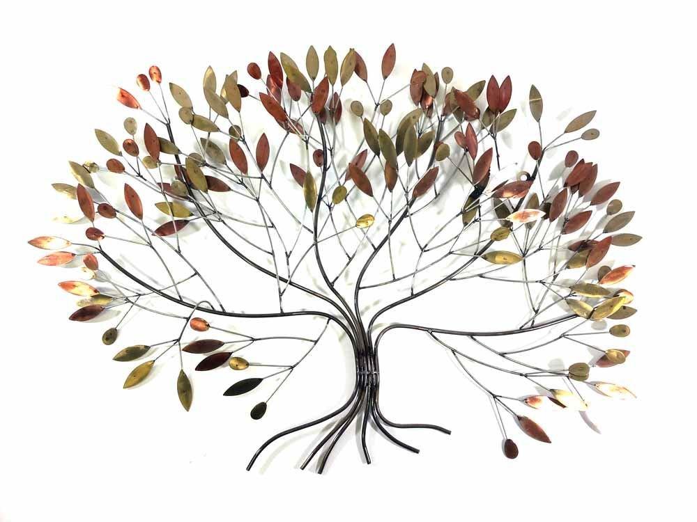 Nuova immagine dell'arte contemporanea parete di metallo o di scultura - Grandi foglie d'autunno albero SK Style