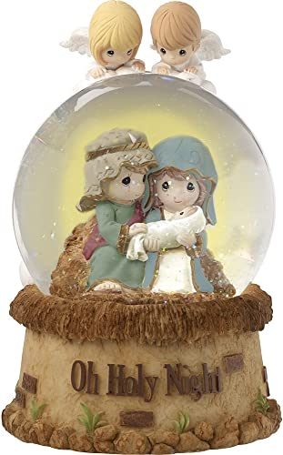 Precious Moments Oh Holy Night Nativity With Angels Musical Resin Glass Snow Globe 171104