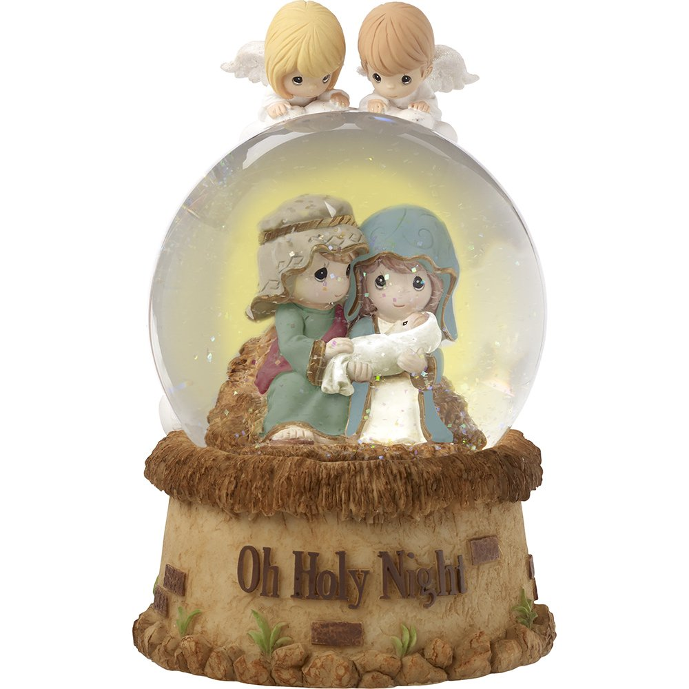 Precious Moments Oh Holy Night Nativity With Angels Musical Resin/Glass Snow Globe 171104