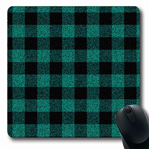 (Mousepad Oblong Material Green Check Turquoise Lumberjack Plaid Buffalo Old Pattern Black Abstract Classic Cold Office Computer Laptop Notebook Mouse Pad,Non-Slip Rubber)