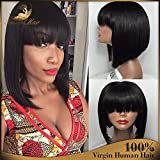 Short Bob Human Hair Lace Front Wig Full Bangs Glueless Short Brazilian Straight Human Hair Wig with Baby Hair for Black Woman 130 Density Lace front Bob Wigs with Fringe (16 inch, full lace wig)