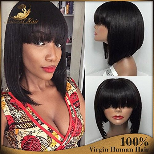 Short Bob Human Hair Lace Front Wig Full Bangs Glueless Short Brazilian Straight Human Hair Wig with Baby Hair for Black Woman 130 Density Lace front Bob Wigs with Fringe (8 inch, lace frontal wig)