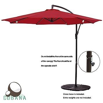 Great COBANA 10u0027 Offset Hanging Patio Umbrella Freestanding Outdoor Parasol  Adjustable Umbrella, 250g/sqm