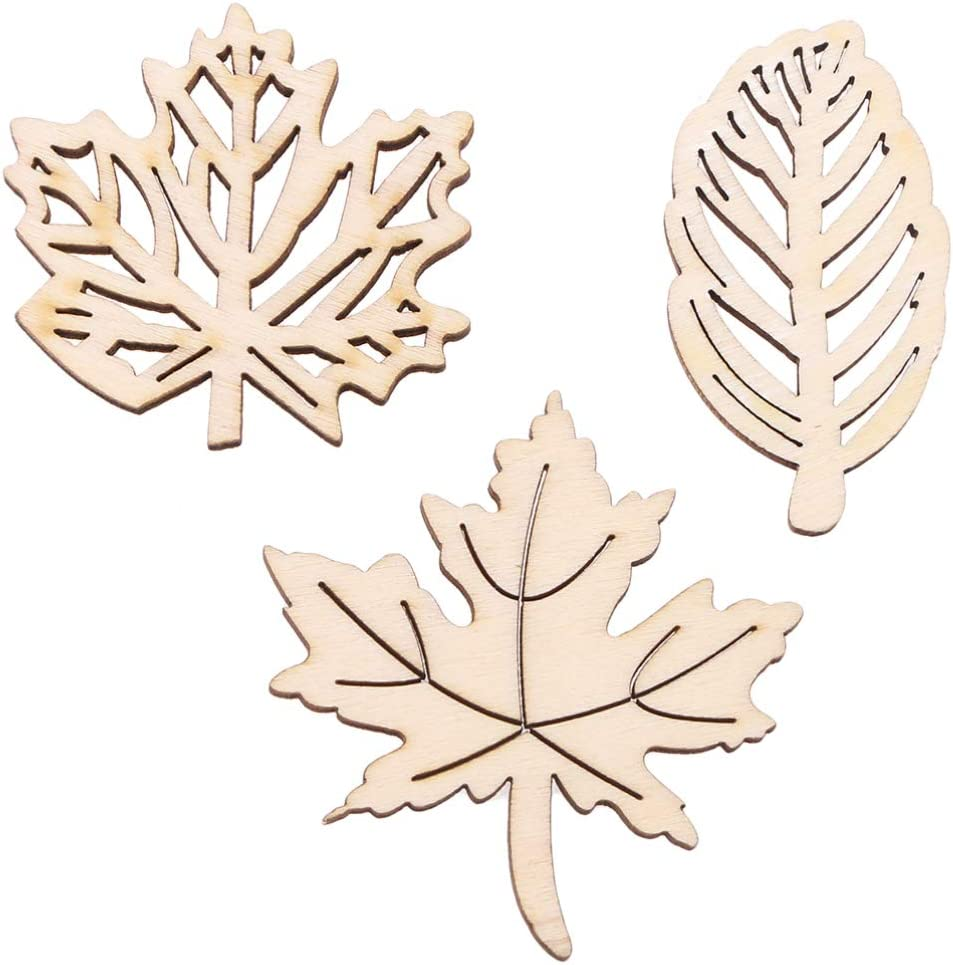 Amosfun Holz Familie Party Ahorn Bl/ätter Ausschnitt Holzscheiben Aush/öhlung Holzst/ücke Handwerk Entworfen Dekor Handwerk Ornament Dekoration