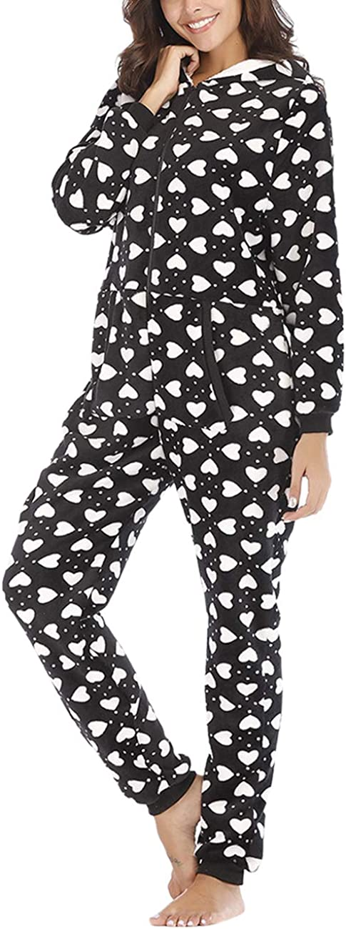 TALLA S (36-38). besbomig Mono Pijama de Mujer Adulto Cálido Onesie Homewear Ropa de Dormir con Capucha - Suave Jumpsuits Trajes de Dormir