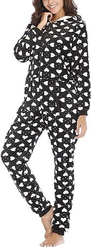 besbomig Mono Pijama de Mujer Adulto Cálido Onesie Homewear Ropa de Dormir con Capucha - Suave Jumpsuits Trajes de Dormir