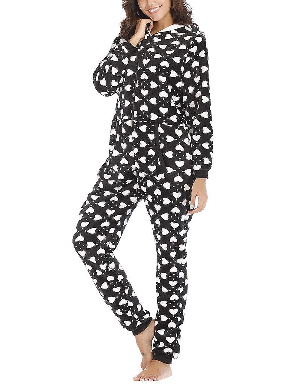 TALLA S. besbomig Mono Pijama de Mujer Adulto Cálido Onesie Homewear Ropa de Dormir con Capucha - Suave Jumpsuits Trajes de Dormir