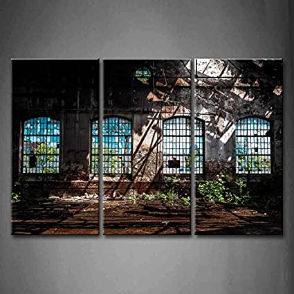 Amazon.com: First Wall Art - 3 Panel Wall Art Abandoned Industrial ...
