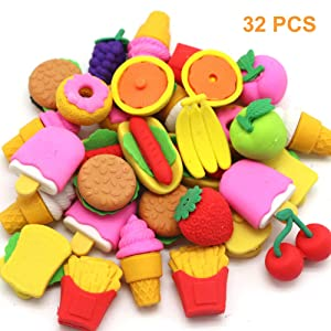 Qingo 32pcs Food Erasers for Kids, Take Apart Fun Erasers Food Cake Dessert Puzzle Erasers for Gift School Classroom Rewards and Novelty Toys
