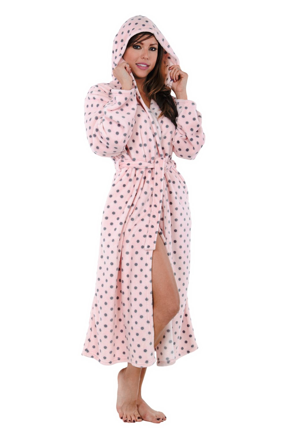 Hoodie Robe Hooded Robe Spa Bathrobe Hoody Robe Long Robe … (Large, Pink Polka Dot) by Love This Robe (Image #6)