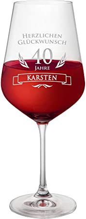 AMAVEL Rotweinglas, Weinglas mit Gravur zum 40. Geburtstag
