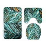 Matefield 3pcs/set Plank Printed Non Slip Water Absorb Floor Rugs Carpet Bath Mats (A)