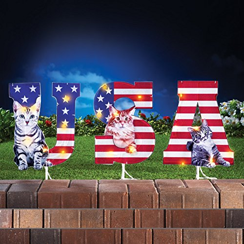 Whimsical Lighted USA Patriotic Cats Garden Stake 4th of July Yard Decoration