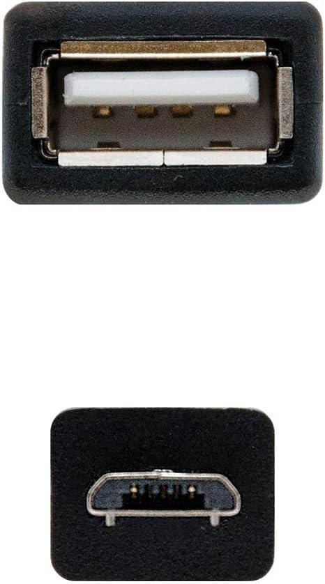 NANOCABLE 10.01.3500 - Cable USB 2.0 OTG (On-The-GO), Tipo Micro B/MA/H, Macho-Hembra, Negro, 15cm
