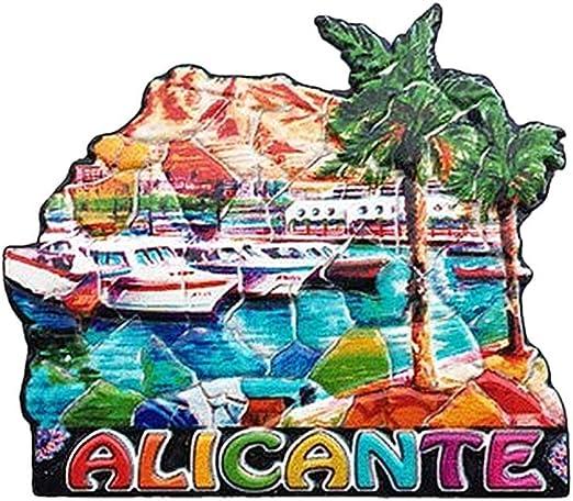 Alicante España Imán 3D para nevera de viaje, regalo de recuerdo de viaje, decoración del hogar y la cocina, imán de Alacant: Amazon.es: Hogar