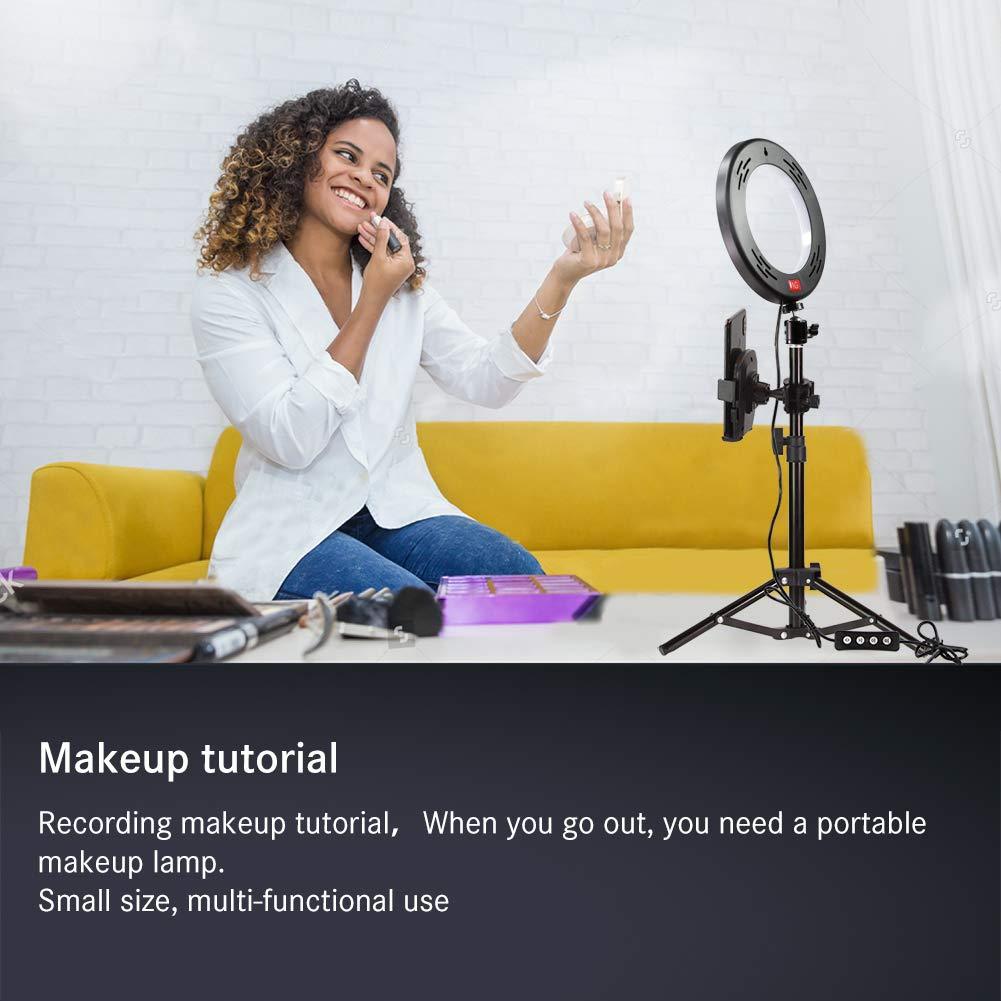 10 LED Selfie Ring Light for Live Stream//Makeup//YouTube Video Nugilla Dimmable Beauty Ringlight with Tripod Stand /& Cell Phone Holder for iPhone Android Phone,Color Temperature 3000K-6500K