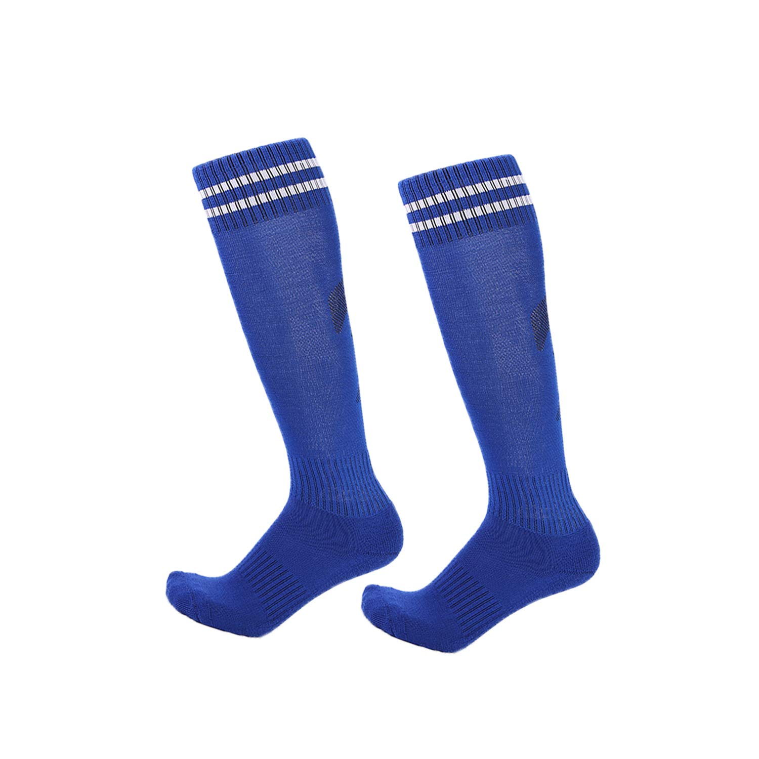 2 Pairs Boys Girls Soccer Socks Towel Cushioning Compression Sport Socks Cotton Team Socks for Children & Kids & Teenagers Sapphire by EBlife