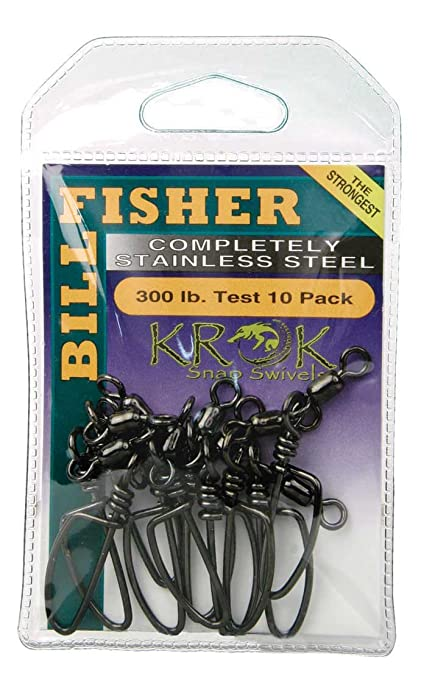 8df32f464b3a66 Image Unavailable. Image not available for. Color  Billfisher SSKS300-10Pk Krok  Snap Fishing Swivels