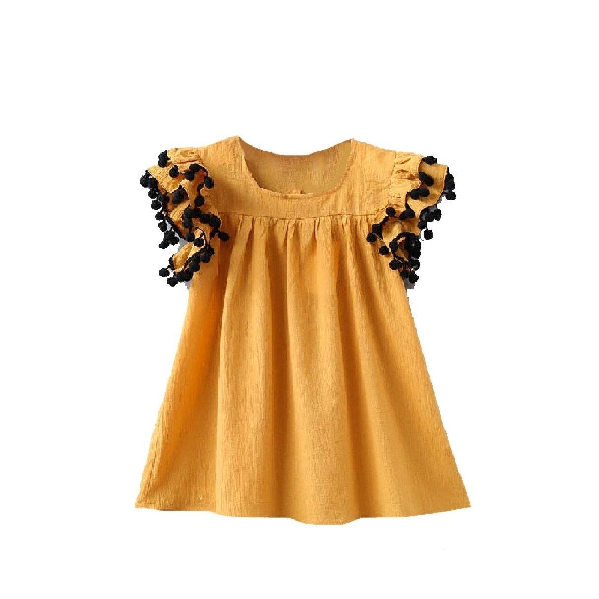 Zago Big Little Girl Solid Fine Cotton Round Collar Flounced Dresses Yellow 110