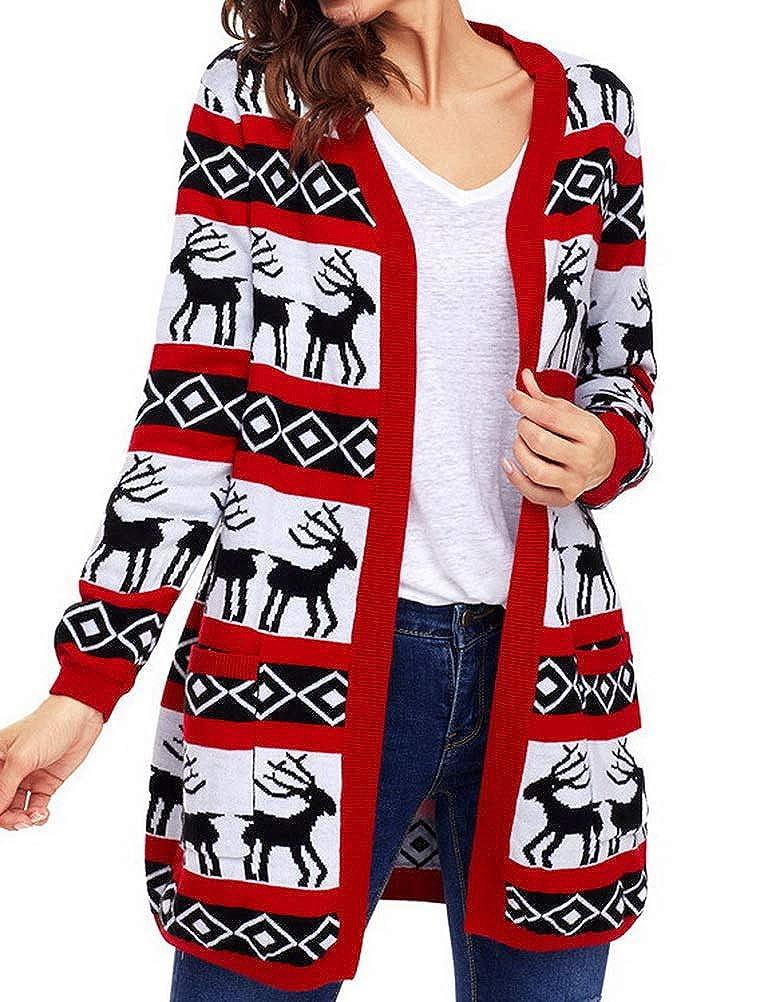 BIUBIONG Women Long Sleeve Open Front Ugly Christmas Knit Long Cardigan Sweaters Coat