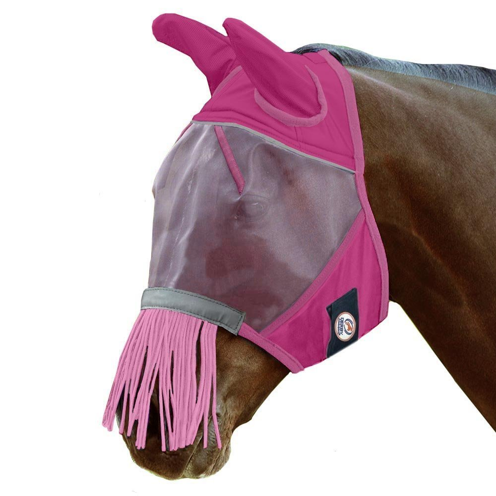 Derby Reflective Fly Mask with Ears & Nose Fringes 5 Appealing Colors - 1 Year Warranty Royal International 72-7181PR-M