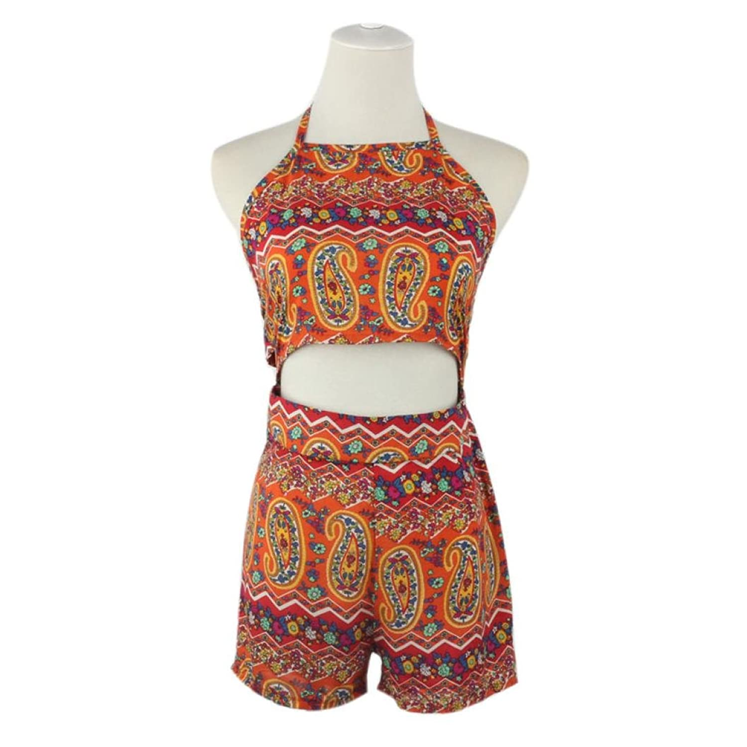 Bodycon Jumpsuit Short Pant,Elevin(TM) Women Floral Backless Frenum Chiffon